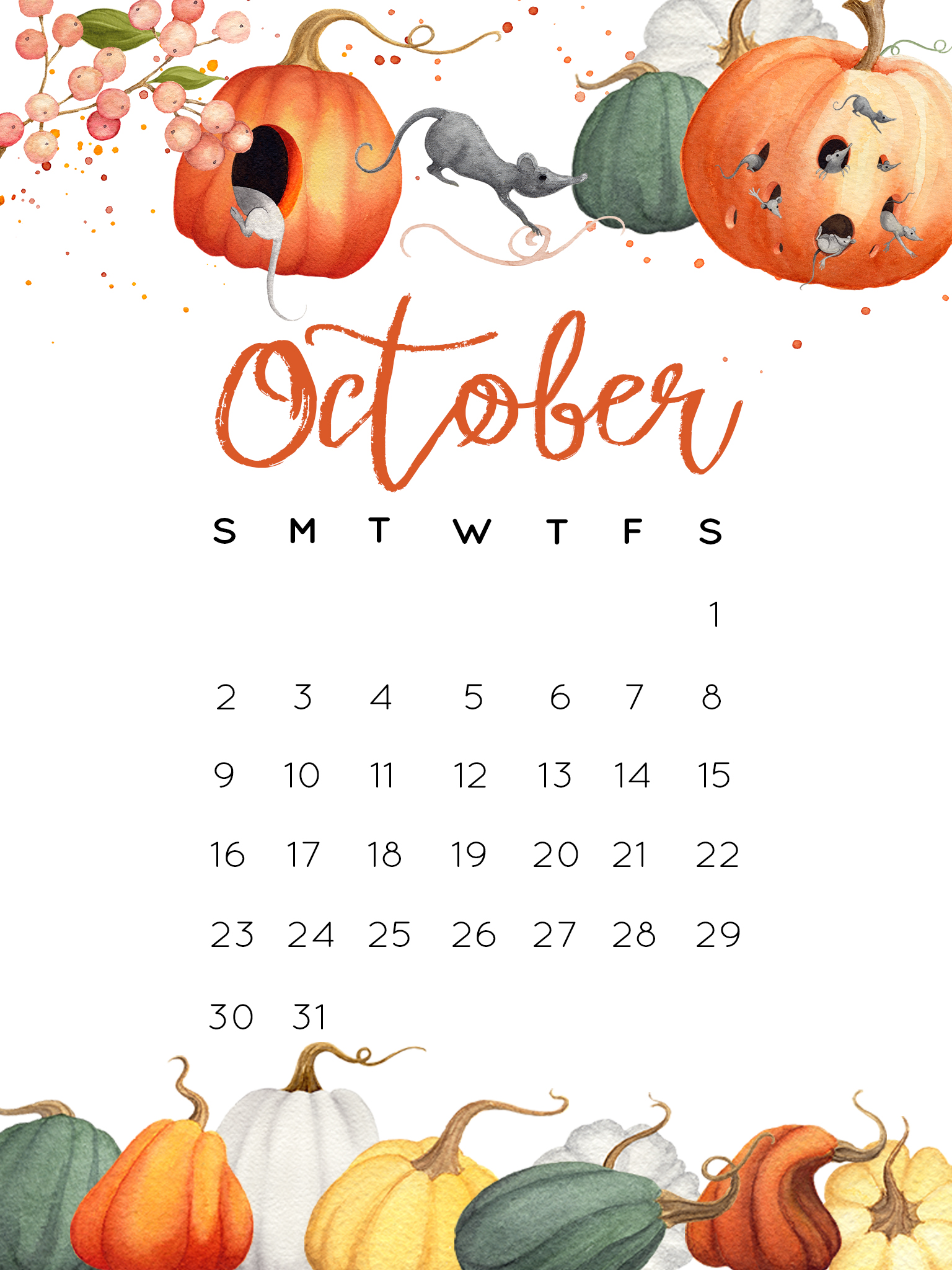 October 2016 Calendar Printables and Tech Pretties